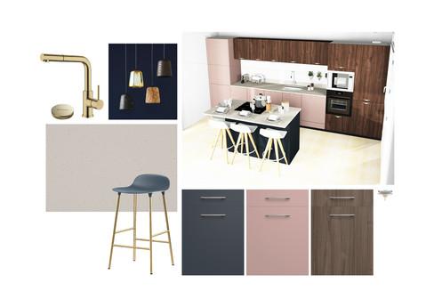 Planche d'ambiance pour une cuisine moderne en rose, bleu et noyer. Coralie Vasseur est votre décoratrice d'intérieur UFDI à Compiegne, Chantilly, Paris, Lille, Lyon, Annecy, Bordeaux. Carnets Libellule dessine vos intérieurs