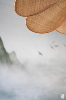 Rénovation et décoration d'une chambre d'ado à Annecy, par le Studio Coralie Vasseur. Coralie Vasseur est votre architecte d'intérieur et décoratrice UFDI à Annecy, Megève et en Haute Savoie : zoom sur la suspension en raphia et décor panoramique en arrière plan