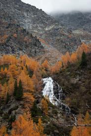 Couleurs flamboyantes de l'automne dans un paysage de montagne et cascade
