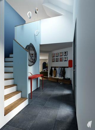 Aménagement et décoration d'un loft industriel street art à Genève, par le Studio Coralie Vasseur. Coralie Vasseur est votre architecte d'intérieur et décoratrice UFDI à Annecy, Genève et en Haute Savoie : entrée bleue avec color zoning et console en métal rouge