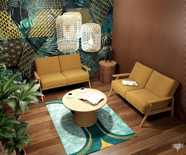 Aménagement et décoration d'un espace de bureaux professionnels à Lille par Carnets Libellule. Coralie Vasseur est votre architecte d'intérieur UFDI à Compiegne : zoom sur le salon d'attente à l'esprit jungle cosy, avec papier peint graphique et suspensions en rotin