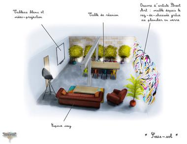 Croquis d'une salle de réunion, bureaux d'espace de coworking à Paris, réalisé à la main avec rotring et promarker. Coralie Vasseur est votre décoratrice d'intérieur UFDI à Compiegne, Paris, Lille, Lyon, Annecy, Bordeaux. Carnets Libellule dessine vos intérieurs