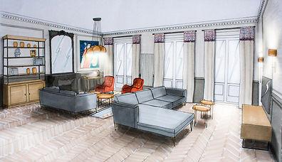 Dessin d'un projet de salon Haussmannien par Carnets Libellule, Décoratrice UFDI sur Paris.