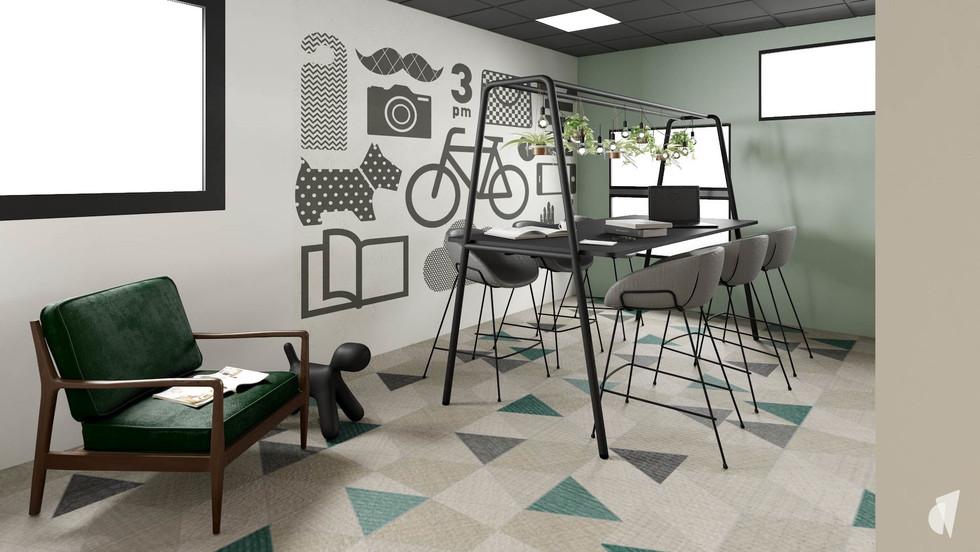 Aménagement et décoration d'un espace de coworking dans les bureaux d'une startup à Lille, par l'agence Coralie Vasseur. Coralie Vasseur est votre architecte d'intérieur et décoratrice UFDI à Annecy, Genève et en Haute Savoie : espace réunion sur une table de coworking assis-debout, papier peint graphique et sol bolon
