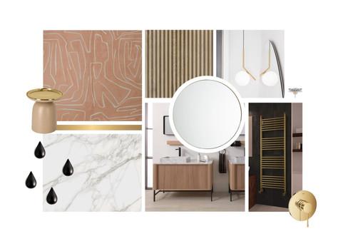 Planche d'ambiance pour une salle de bains élégante et raffinée, à Courchevel. Coralie Vasseur est votre décoratrice d'intérieur UFDI à Compiegne, Chantilly, Paris, Lille, Lyon, Annecy, Bordeaux. Carnets Libellule dessine vos intérieurs