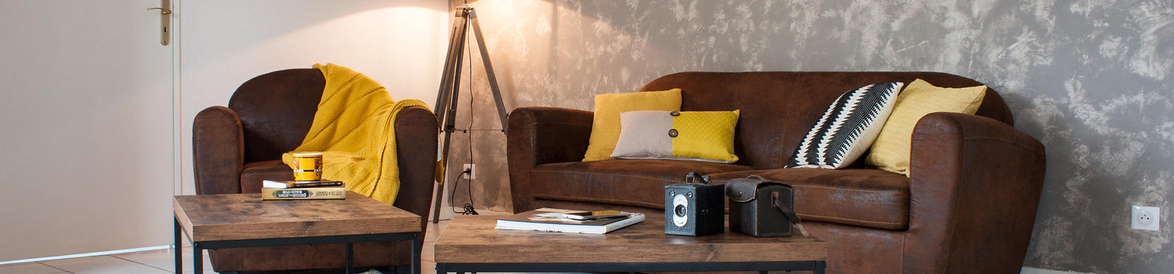 Décoration d'un salon dans un appartement masculin, au style industriel. Coralie Vasseur est votre décoratrice d'intérieur UFDI sur Paris, Compiegne et Lille. Carnets Libellule