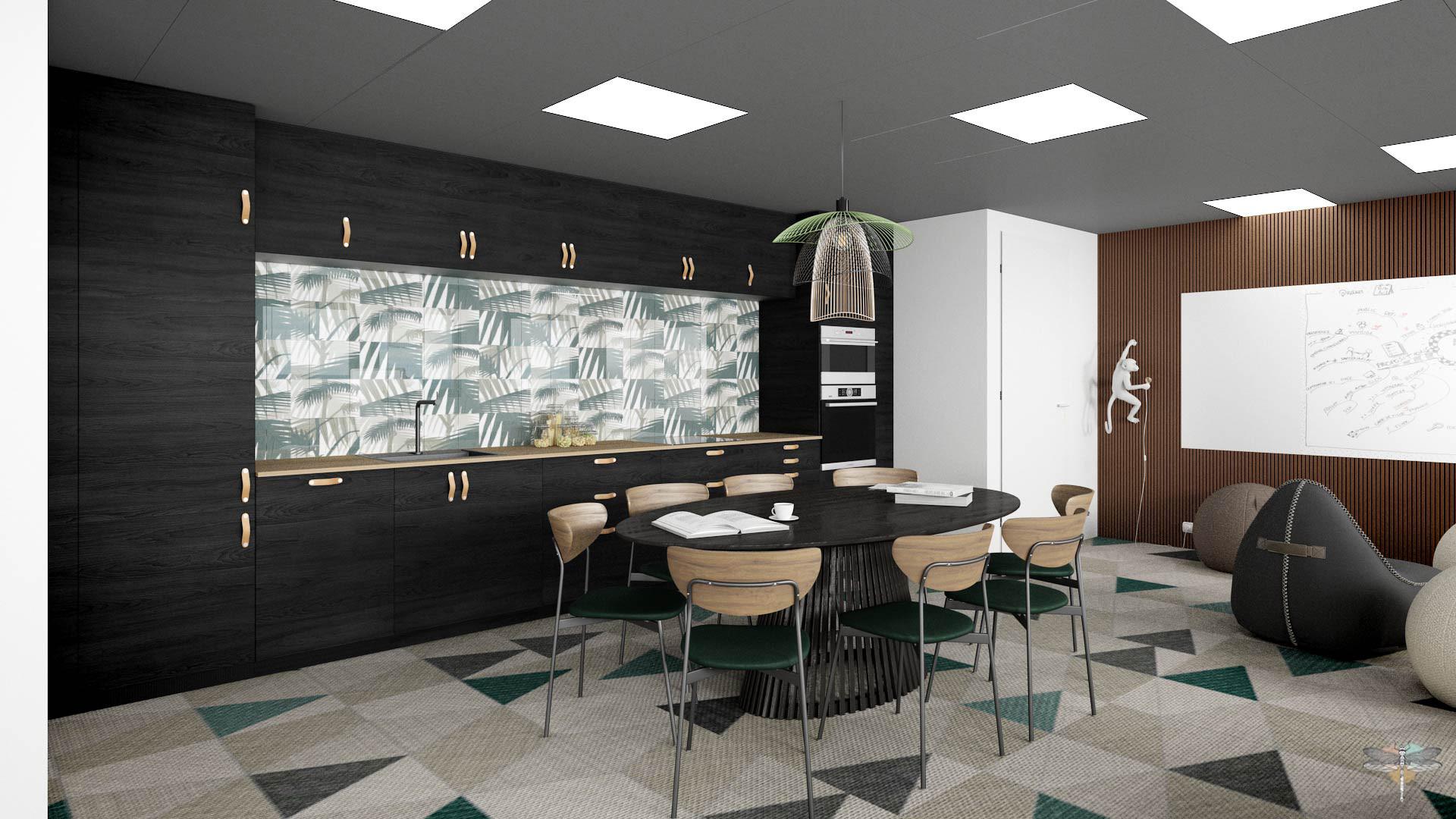 Aménagement et décoration d'un espace de bureaux professionnels à Lille par Carnets Libellule. Coralie Vasseur est votre architecte d'intérieur UFDI à Compiegne : cuisine conviviale ouverte sur espace de formation et coworking, esprit jungle moderne pour workspace professionnel