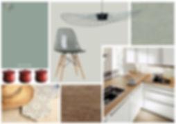 Planche d'ambiance pour une cuisine épurée et moderne avec carreaux de ciment sur mesure. Coralie Vasseur est votre décoratrice d'intérieur à Compiègne, Paris et Lille.