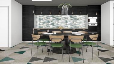 Perspective 3D photoréaliste d'une cuisine dans un espace de coworking à Lille. Coralie Vasseur est votre décoratrice d'intérieur UFDI à Compiegne, Chantilly, Paris, Lille, Lyon, Annecy, Bordeaux. Carnets Libellule dessine vos intérieurs
