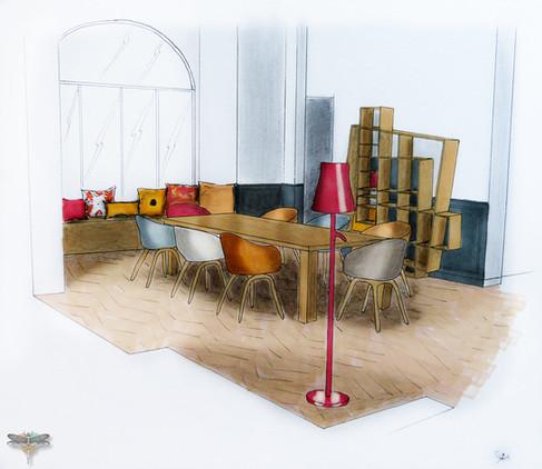 Croquis d'une salle à manger en couleur réalisé à la main avec rotring et promarker. Coralie Vasseur est votre décoratrice d'intérieur UFDI à Compiegne, Chantilly, Paris, Lille, Lyon, Annecy, Bordeaux. Carnets Libellule dessine vos intérieurs