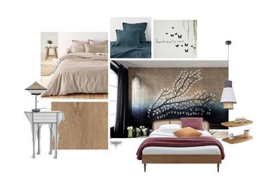 Planche d'ambiance pour une chambre parentale d'une maison située à Lyon, ambiance japonisante. Coralie Vasseur est votre décoratrice d'intérieur UFDI à Compiegne, Chantilly, Paris, Lille, Lyon, Annecy, Bordeaux. Carnets Libellule dessine vos intérieurs