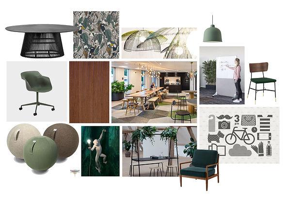 Planche d'ambiance décoration pour espace de coworking à Lille, esprit jungle moderne avec touches graphiques