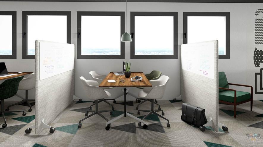 Aménagement et décoration d'un espace de bureaux professionnels à Lille par Carnets Libellule. Coralie Vasseur est votre architecte d'intérieur UFDI à Compiegne : corners de travail en équipe ou en coworking, avec panneaux acoustiques modulables à tableau blanc intégré pour des petites réunions
