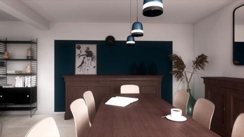 Rendu 3D photoréaliste d'une pièce de vie mêlant ancien et moderne dans une maison de Chantilly. Coralie Vasseur est votre décoratrice d'intérieur UFDI à Compiegne, Chantilly, Paris, Lille, Lyon, Annecy, Bordeaux. Carnets Libellule dessine vos intérieurs