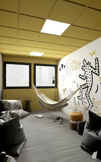 Aménagement et décoration d'un espace de coworking dans les bureaux d'une startup à Lille, par l'agence Coralie Vasseur. Coralie Vasseur est votre architecte d'intérieur et décoratrice UFDI à Annecy, Genève et en Haute Savoie : salle de repos avec papier peint panoramique, hamac et poufs