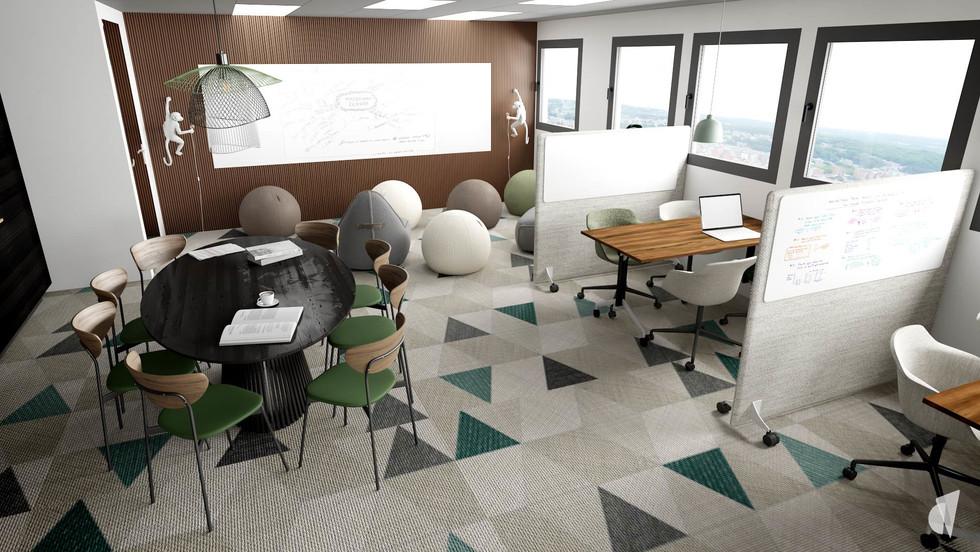 Aménagement et décoration d'un espace de coworking dans les bureaux d'une startup à Lille, par l'agence Coralie Vasseur. Coralie Vasseur est votre architecte d'intérieur et décoratrice UFDI à Annecy, Genève et en Haute Savoie : vue d'ensemble sur l'espace de co-créativité avec sa table de réunion, ses box acoustiques et le sol graphique