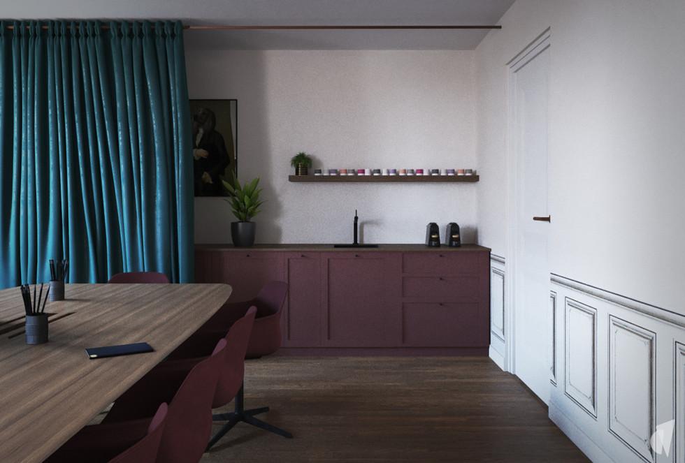 Création d'un cabinet dentaire, par l'agence Coralie Vasseur. Coralie Vasseur est votre architecte d'intérieur et décoratrice UFDI à Annecy, Genève et en Haute Savoie : cuisine dissimulée dans la salle de réunion, avec façades à cadre et rideaux en velours