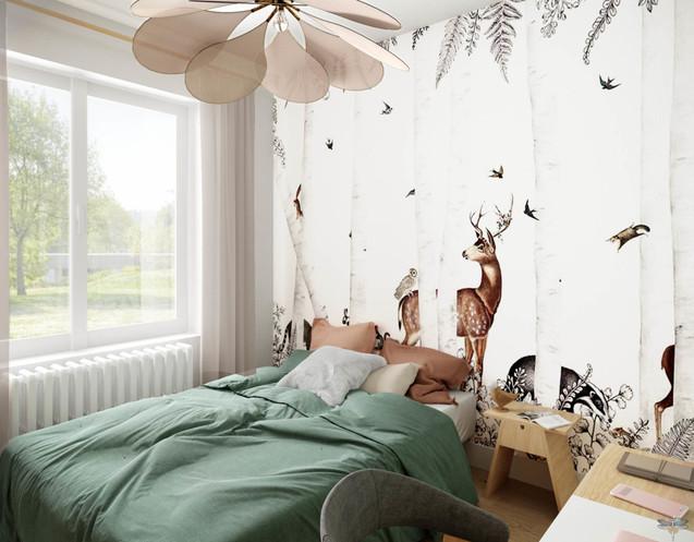 Décoration d'une chambre de jeune fille à Senlis par Carnets Libellule. Coralie Vasseur est votre architecte d'intérieur UFDI à Compiegne : papier peint forêt enchantée et animaux en tête de lit, suspension en forme de pétales de fleur