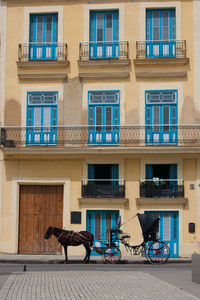 Façade colorée à la Havane, Cuba
