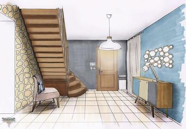 Croquis d'une entrée de maison en perspective, réalisé à la main avec rotring et promarker. Coralie Vasseur est votre décoratrice d'intérieur UFDI à Compiegne, Paris, Lille, Lyon, Annecy, Bordeaux. Carnets Libellule dessine vos intérieurs