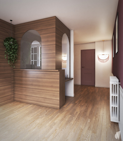 Création d'un cabinet dentaire, par l'agence Coralie Vasseur. Coralie Vasseur est votre architecte d'intérieur et décoratrice UFDI à Annecy, Genève et en Haute Savoie : accueil du cabinet avec un jeu d'arches en bois, agencement dessiné sur mesure par le studio