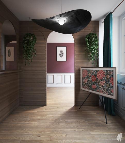 Création d'un cabinet dentaire, par l'agence Coralie Vasseur. Coralie Vasseur est votre architecte d'intérieur et décoratrice UFDI à Annecy, Genève et en Haute Savoie : vue sur l'accueil depuis la salle d'attente, avec revêtement mural acoustique et papier peint trompe l'œil en sous bassement