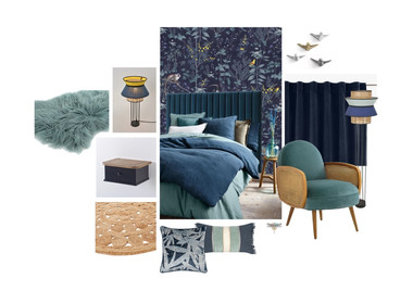 Planche d'ambiance pour une chambre parentale teintée de bleu à Nantes. Coralie Vasseur est votre décoratrice d'intérieur UFDI à Compiegne, Chantilly, Paris, Lille, Lyon, Annecy, Bordeaux. Carnets Libellule dessine vos intérieurs