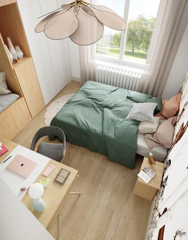 Rendu 3D photoréaliste d'une chambre d'enfant dans des teintes douces et poétiques d'un chalet à Courchevel. Coralie Vasseur est votre décoratrice d'intérieur UFDI à Compiegne, Chantilly, Paris, Lille, Lyon, Annecy, Bordeaux. Carnets Libellule dessine vos intérieurs