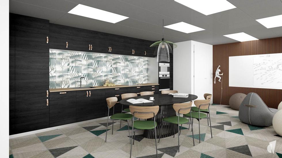 Aménagement et décoration d'un espace de coworking dans les bureaux d'une startup à Lille, par l'agence Coralie Vasseur. Coralie Vasseur est votre architecte d'intérieur et décoratrice UFDI à Annecy, Genève et en Haute Savoie : espace multifonctions avec cette cuisine jungle, table de repas et de réunion