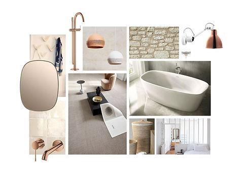 mood board salle de bains épurée et moderne, zellige et robinetterie cuivrée