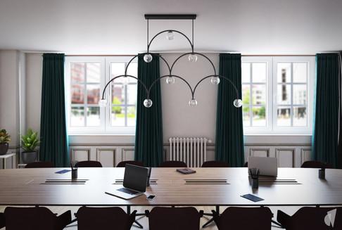 Création d'un cabinet dentaire, par l'agence Coralie Vasseur. Coralie Vasseur est votre architecte d'intérieur et décoratrice UFDI à Annecy, Genève et en Haute Savoie : salle de conférences avec sa grande table en bois et sa suspension en forme d'arches qui rappelle l'accueil, rideaux en velours