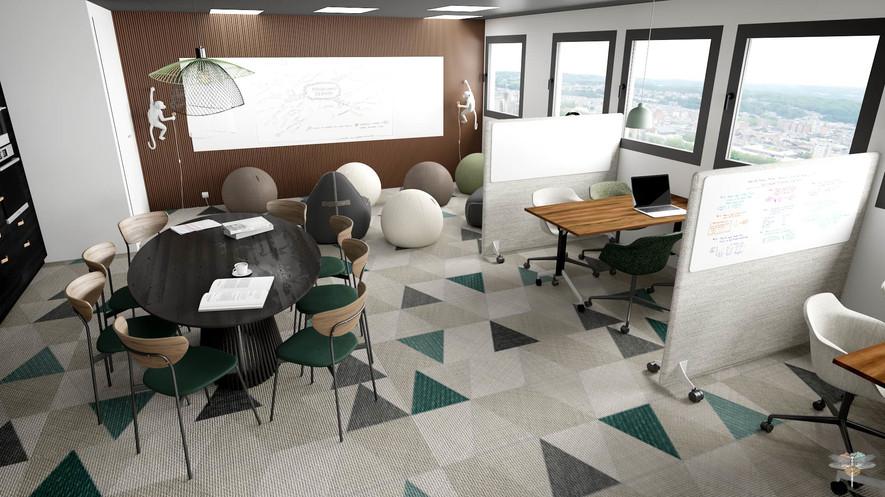 Aménagement et décoration d'un espace de bureaux professionnels à Lille par Carnets Libellule. Coralie Vasseur est votre architecte d'intérieur UFDI à Compiegne : vue d'ensemble sur l'espace de co-créativité et salle de réunion et formation, espace complètement modulable avec cuisine d'entreprise conviviale