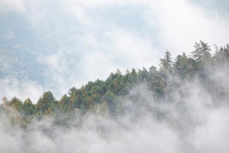 Horizon de la crête qui se dessine derrière les nuages de montagne