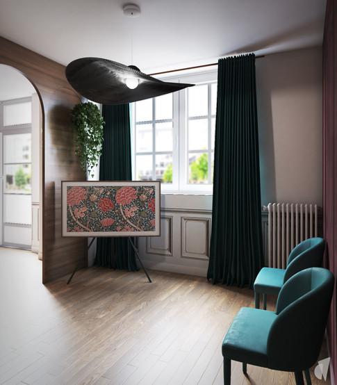 Création d'un cabinet dentaire, par l'agence Coralie Vasseur. Coralie Vasseur est votre architecte d'intérieur et décoratrice UFDI à Annecy, Genève et en Haute Savoie : salle d'attente du cabinet dentaire avec ses fauteuils et rideaux en velours, sa TV sur tripod tel une œuvre d'art
