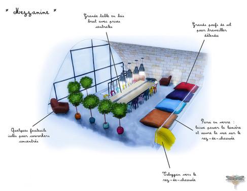Croquis d'une salle de réunion dans un espace de bureaux en coworking à Paris, réalisé à la main avec rotring et promarker. Coralie Vasseur est votre décoratrice d'intérieur UFDI à Compiegne, Chantilly, Paris, Lille, Lyon, Annecy, Bordeaux. Carnets Libellule dessine vos intérieurs