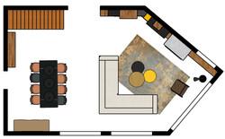 Plan d'implantation 2D salon séjour