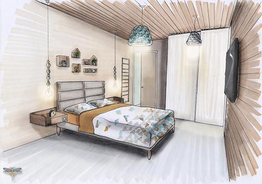 Croquis d\'une chambre universal design en perspective, réalisé à la ...