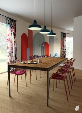 Aménagement et décoration d'un loft industriel street art à Genève, par le Studio Coralie Vasseur. Coralie Vasseur est votre architecte d'intérieur et décoratrice UFDI à Annecy, Genève et en Haute Savoie : salle à manger colorée et industrielle avec chaises de designer et arches de couleurs aux murs