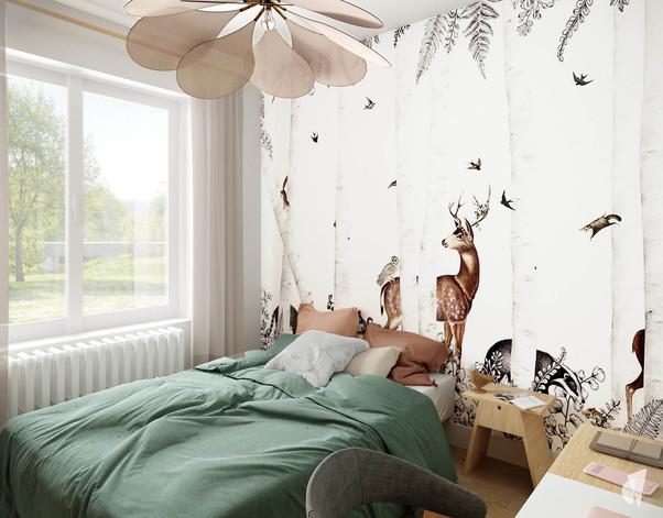 Aménagement et décoration d'une chambre de fille à Genève, par le studio Coralie Vasseur. Coralie Vasseur est votre architecte d'intérieur et décoratrice UFDI à Annecy, Genève et en Haute Savoie : papier peint panoramique en tête de lit, forêt enchantée avec les animaux