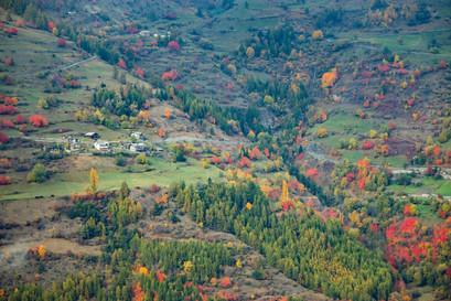 Colline verdoyante et couleurs d'automne dans un paysage d'Italie