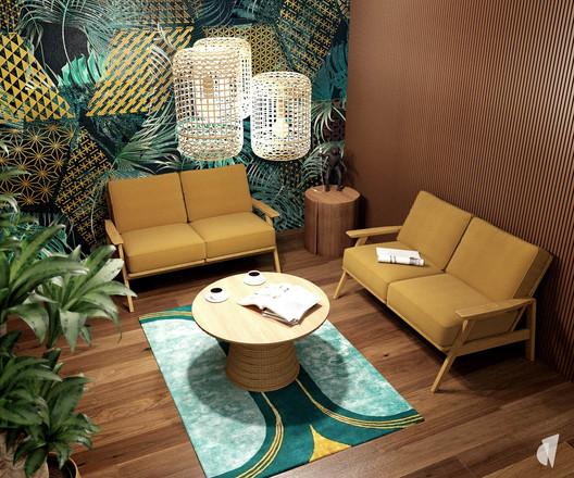 Aménagement et décoration d'un espace de coworking dans les bureaux d'une startup à Lille, par l'agence Coralie Vasseur. Coralie Vasseur est votre architecte d'intérieur et décoratrice UFDI à Annecy, Genève et en Haute Savoie : réception des bureaux, avec espace jungle et canapés jaunes