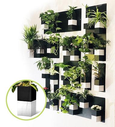 Plant wall XL black / white pots