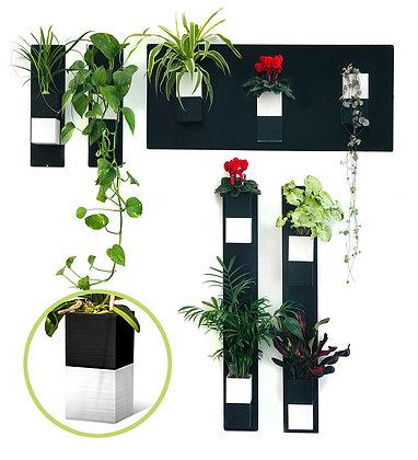 Plant wall S black / white pots