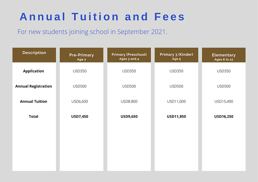 TES Annual Tuition and School Fees - Sta