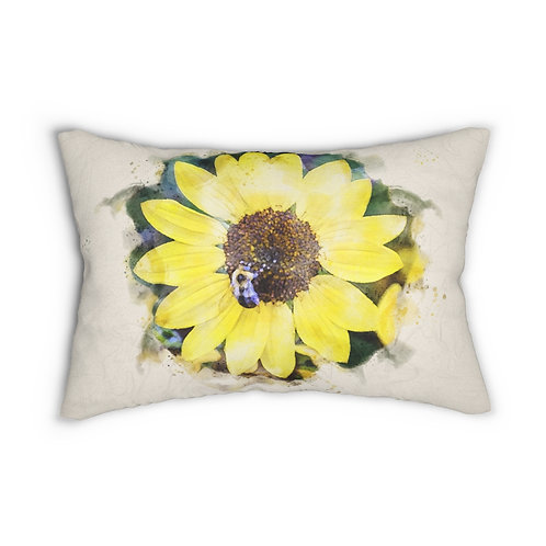 """Sunflower and Bumblebee Watercolor 14"""" x 20"""" Pillow"""
