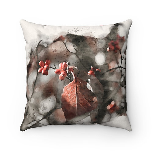Berries and Leaves Watercolor Pillow