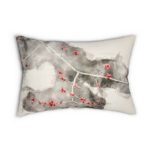 """Small Red Leaves Watercolor 14"""" x 20"""" Pillow"""