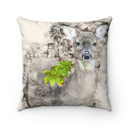 Deer with Green Leaf Watercolor Pillow