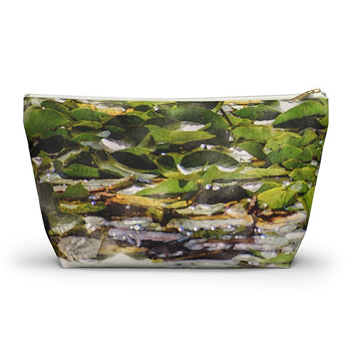 Lily Pads Watercolor Accessory Pouch w T-bottom
