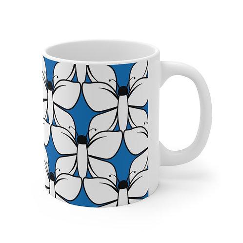 Black and White Butterfly Pattern Ceramic Mug 11oz